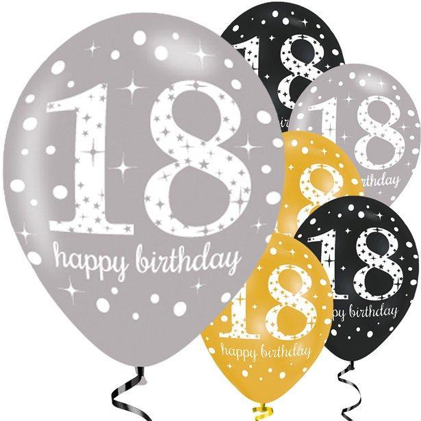 Køb 18 År Balloner i Guld, Sølv og Sort til 18 års fødselsdag