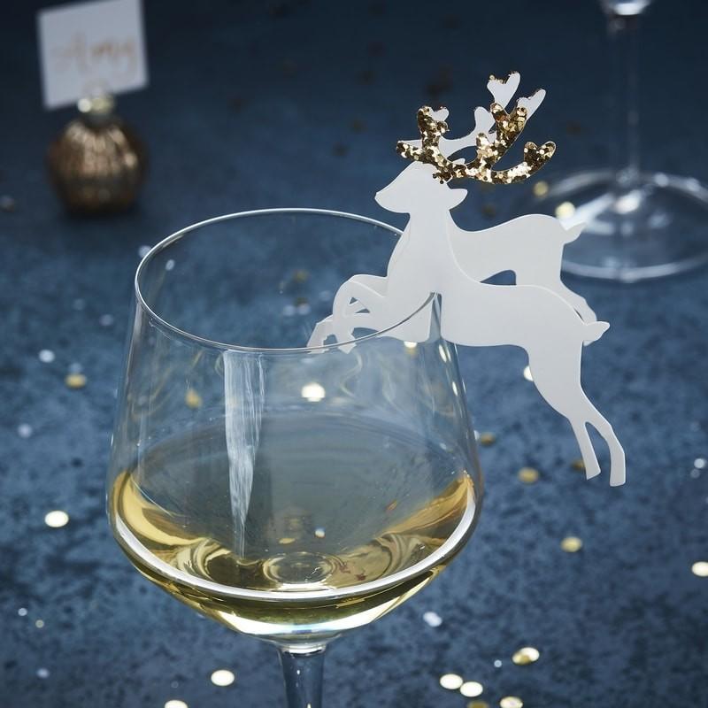 Bordkort Jul Rensdyr Guld