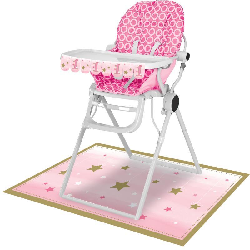 Lille stjerne lyserød, Dekoration til højstol, 1 års fødselsdag