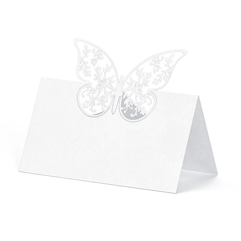 Bordkort Sommerfugl Hvid