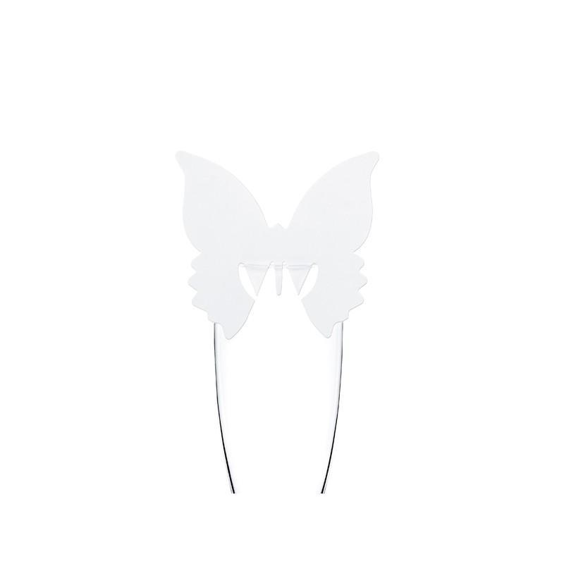 Bordkort Glas Sommerfugl Hvid Lille
